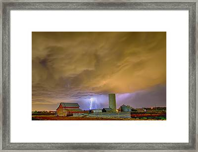 Thunderstorm Hunkering Down On The Farm Framed Print by James BO  Insogna
