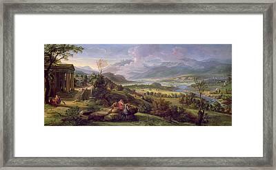 Tiber Valley Oil On Panel Framed Print by Luigi Vanvitelli