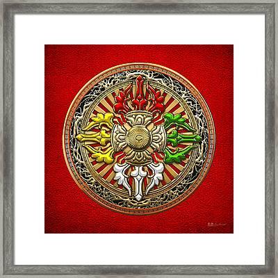 Tibetan Double Dorje Mandala - Double Vajra On Red Leather Framed Print by Serge Averbukh