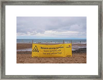 Tidal Warning Sign Framed Print by Mark Williamson
