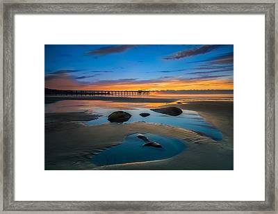 Tide Pool Reflections At Scripps Pier Framed Print by Larry Marshall