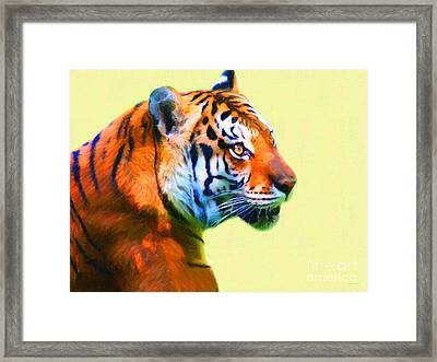 Tiger . 7d2058 . Painterly Framed Print by Wingsdomain Art and Photography