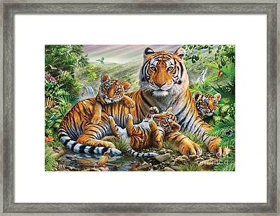 Tiger And Cubs Framed Print by Adrian Chesterman