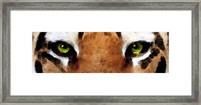 Tiger Art - Hungry Eyes Framed Print by Sharon Cummings