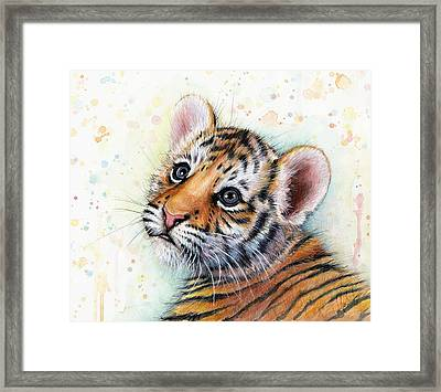 Tiger Cub Watercolor Art Framed Print by Olga Shvartsur