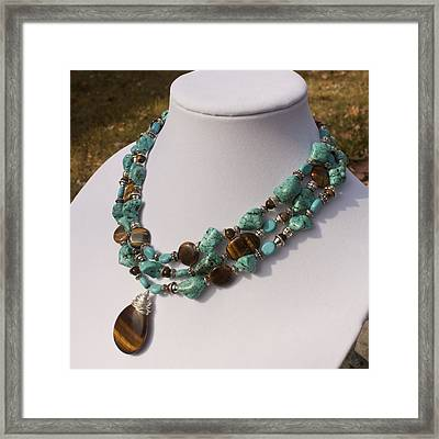 Tiger Eye And Turquoise Triple Strand Necklace 3640 Framed Print by Teresa Mucha