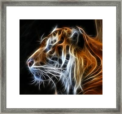 Digital Manipulation Framed Print featuring the photograph Tiger Fractal by Shane Bechler