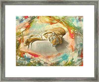 Tiger Laying In Abstract Framed Print by Paul Krapf