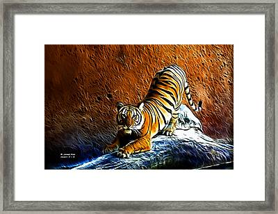 Tiger Pounce -  Fractal - S Framed Print by James Ahn
