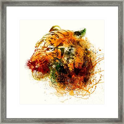 Tiger Side Face Framed Print by Marian Voicu