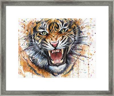 Tiger Watercolor Portrait Framed Print by Olga Shvartsur