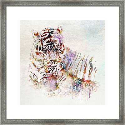 Tiger With Cub Watercolor Framed Print by Marian Voicu