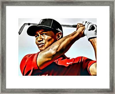 Tiger Woods Framed Print by Florian Rodarte