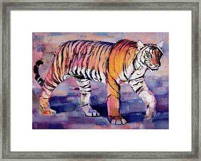 Tigress, Khana, India Framed Print by Mark Adlington