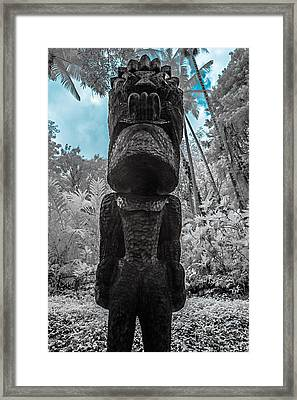 Tiki Man In Infrared Framed Print by Jason Chu