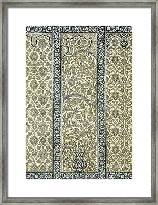 Tiled Panel From Mosque Of Ibrahym Agha From Arab Art As Seen Through The Monuments Of Cairo Framed Print by Emile Prisse d Avennes