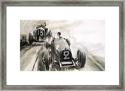 Tim Birkin Driving At Brooklands Framed Print by Graham Coton
