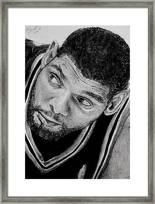 Tim Duncan Drawing The Champ Is Here Framed Print by Tony Orcutt