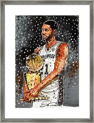 Tim Duncan Nba Champion Framed Print by Dave Olsen