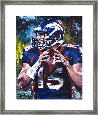 Tim Tebow Framed Print by Mark Courage