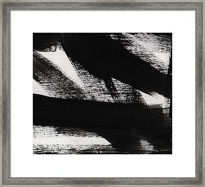 Timber 2- Horizontal Abstract Black And White Painting Framed Print by Linda Woods