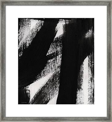 Timber- Vertical Abstract Black And White Painting Framed Print by Linda Woods
