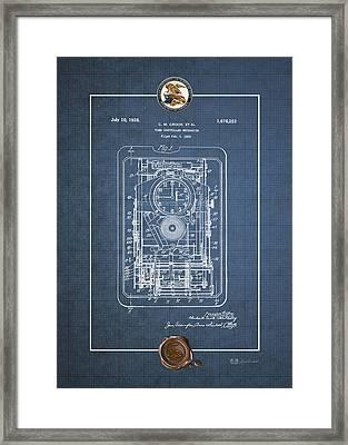 Time Controlled Mechanism Vintage Patent Blueprint Framed Print by Serge Averbukh