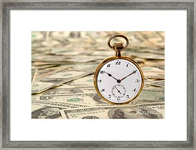 Time Is Over Money Framed Print by Olivier Le Queinec