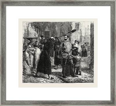 Time Of The Persecution Of The Christian Reformers In Paris Framed Print by Hook, James Clarke Ra (1819-1907), British
