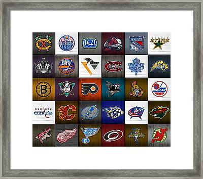 Time To Lace Up The Skates Recycled Vintage Hockey League Team Logos License Plate Art Framed Print by Design Turnpike