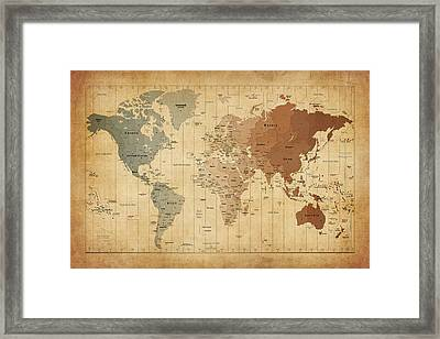 Time Zones Map Of The World Framed Print by Michael Tompsett