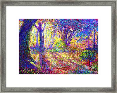 Deer And Dancing Shadows Framed Print by Jane Small
