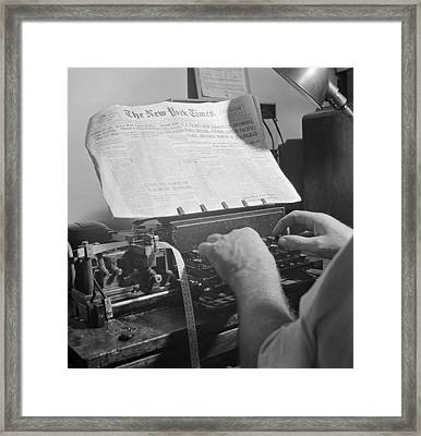Times News Sent By Morse Code To Ships Framed Print by Science Source