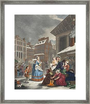 Times Of The Day Morning, Illustration Framed Print by William Hogarth