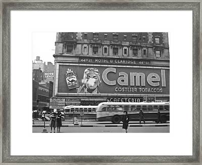 Times Square Advertising Framed Print by John Vachon