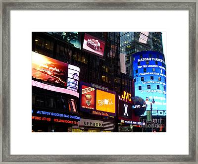 Times Square At Night New York City Framed Print by Robert Ford