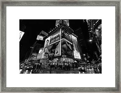 Times Square Black And White II Framed Print by John Farnan