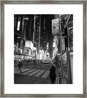 Times Square In Black And White Framed Print by Dan Sproul