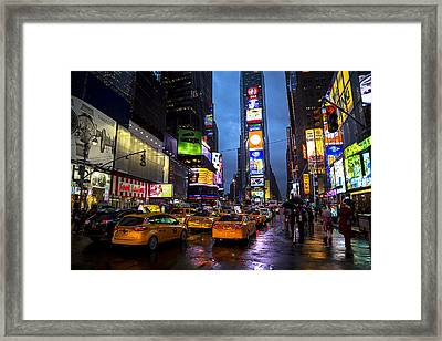 Times Square In The Rain Framed Print by Garry Gay