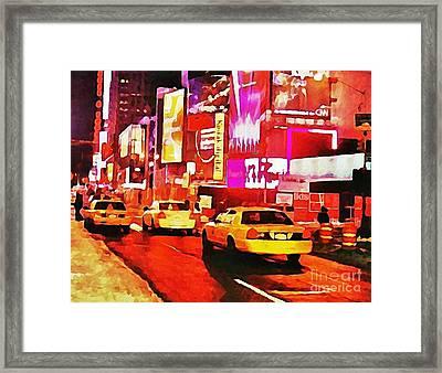 Times Square Near Broadway Framed Print by Halifax artist John Malone