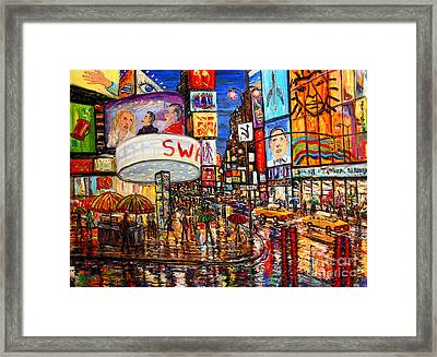 Times Square With Lion King Framed Print by Arthur Robins