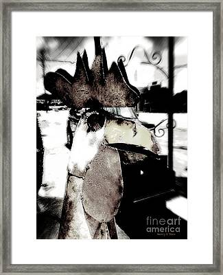 Tin Rooster Framed Print by Nancy E Stein