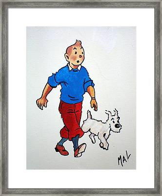 Tin Tin And Snowie 2 Framed Print by Marlyn Anderson