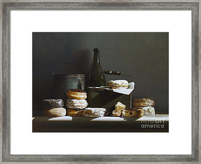 Tins And Donuts Framed Print by Larry Preston