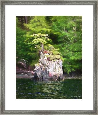 Tiny Island Inside Passage Alaska Framed Print by Bellesouth Studio