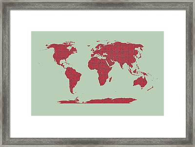 Tiny Red Hearts World Map Framed Print by Daniel Hagerman