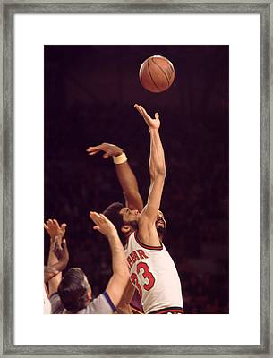 Tip Off Kareem Abdul Jabbar  Framed Print by Retro Images Archive