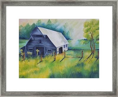 Tipton Barn Cades Cove Tn Framed Print by Golanv  Waya