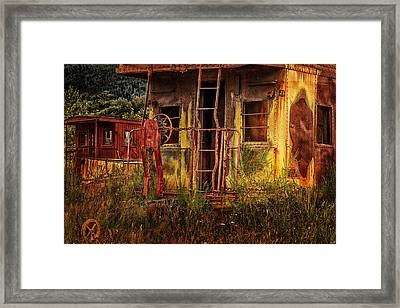 Tired Caboose Framed Print by Mary Jo Allen