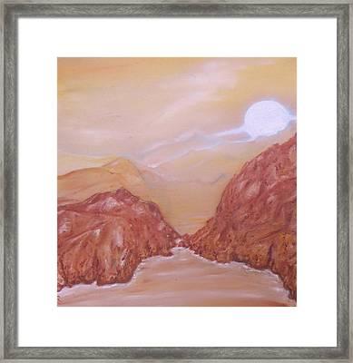 Titan -saturn Vi Midnight By A Methane Lake Framed Print by Nicla Rossini